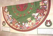 ABBOT DESIGNS Christmas Tree Skirt Fabric TWO Panels BEAR TOYS HORSE NUTCRACKER