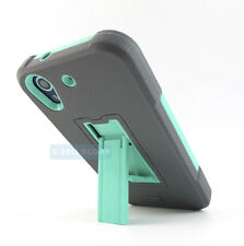 HTC DESIRE 626 626S 625 650 GREY TURQUOISE RUGGED IMPACT DUAL LAYER CASE COVER