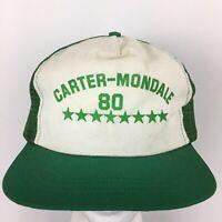 Vtg 80s Carter Mondale Presidential Hat Logo Mesh Snap Back Trucker Baseball Cap
