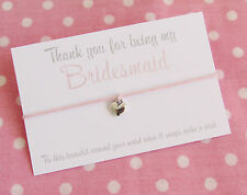 Thank You For Being My Bridesmaid ~ Heart Wish Friendship Bracelet & Envelope