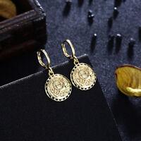 Women 24k Yellow Gold Plated Bridal Dangle Drop Hoop Ear Stud Earrings Jewelry