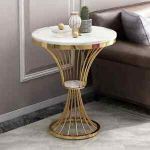 Modern Round Faux Marble Coffee Side Table End Table Home Living Room Furniture