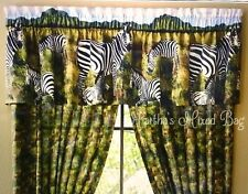 "Safari Jungle ZEBRA KINGDOM Animal Print WINDOW Treatment 16""x84""Curtain VALANCE"