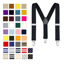 Buyless Fashion Kids Adjustable Suspenders Elastic Solid Color 1 Inch - Y Back