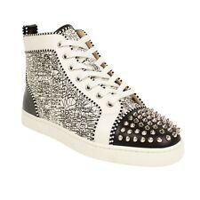 NIB CHRISTIAN LOUBOUTIN Black/White Lou Spikes Orlato Sneakers 11/44 $1195