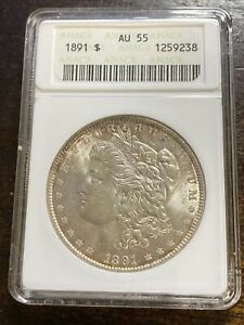1891 AU55 MORGAN SILVER DOLLAR 90% SILVER $1 COIN US Graded By ANACS Nice Luster