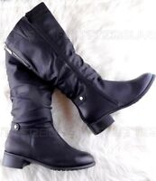 Black Boots Low Heel Flat Knee High Womens Ruched Fur Lined Ladies Size