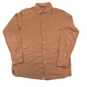 Loro Piana Vintage Designer Men's Orange 100% Cotton Long Sleeve Button Up Shirt