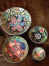 NEW 4pc set- Handmade Turkish Traditional Ceramic Bowl GREEN