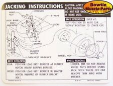 1969 69 CAMARO SS JACKING INSTRUCTIONS DECAL TRUNK N66