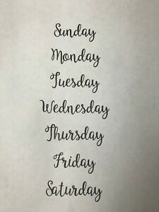 Days of Week Vinyl Labels - Various Colours Available - Set of 7