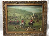 Oil Painting Victorian Style Horse Riders With Hunting Dogs After Philip Rideout