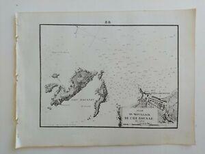 1858 Gauttier Carta Náutica Mapa Plan du Mouillage de L'Île-Rousse en Corse