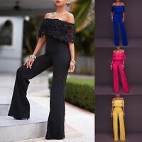 Womens Clubwear Summer Playsuit Bodycon Party Jumpsuit Off Shoulder Long Pants