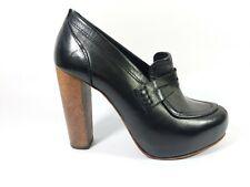 Topshop Premium black leather High Heel Shoes Uk 4 Eu 37
