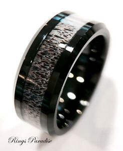 Black Tungsten Ring Real Antler Ring, Antler Wedding Band, Tungsten Wedding Band