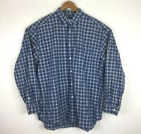Eddie Bauer Blue Plaid Long Sleeve Button Down Mens Shirt Large 100% Cotton EUC