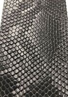 Vinyl Fabric Black Faux Viper Snake Skin Leather Upholstery-3D Scales-The Yard.