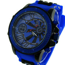 MENS ICED OUT HIP HOP BLUE/BLACK CAPTAIN BLING BULLET BAND WATCH *NEW*