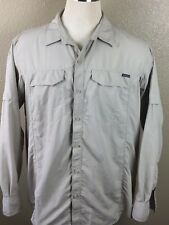 Columbia Mens Beige Fishing Hiking Nylon Button Shirt Zipper Pockets Size XXL