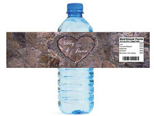 Cork Hearts on Stone Wedding anniversary Engagement Party Water Bottle Labels