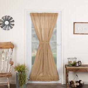 VHC Tobacco Cloth Khaki Country Farmhouse Window Door Panel Curtain