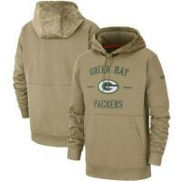 Green Bay Packers Olive Salute to Service Sideline Therma Hoodie