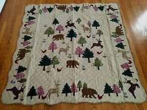 "NEW Handmade Animal Enchantment Throw quilt / Wall hanging 60"" x 60"""