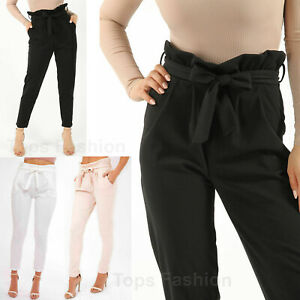 Ladies Womens Tie Up Belted High Waist Paper Bag Trousers Wide Leg Slim Bottoms