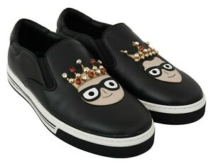 DOLCE & GABBANA Shoes Sneakers Loafers Black Crystal Leather Mens s. EU42 / US9