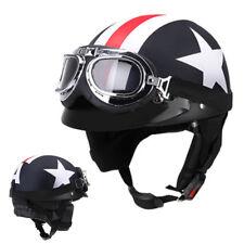 Moto Scooter Demi casque de cuir avec visière UV Lunettes Retro pour Harley