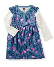 NWT Tea Collection Snowdrop Button Neck floral Dress Sz: 8 Blue/Pink Monsoon