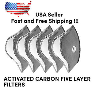 Activated Carbon Sport Face Mask 5 Layer Filters Cycling Pollution 5, 10 Pcs