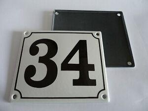 Old German White Enamel Porcelain Metal House Door Number Street Sign / Plate 34