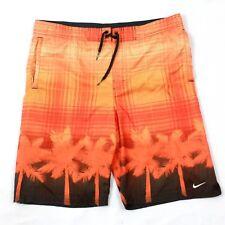 Nike Men's Swim Shorts Orange Mesh Lined Boardshorts Tropical Swimming Trunks S