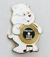 Prevent Child Abuse Teddy Bear Cartoon Pin Badge Rare Vintage Broken Clasp (A1)