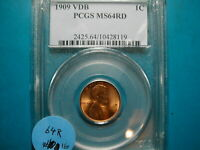 1909-VDB LINCOLN WHEAT CENT, PCGS MS 64 Red, (#16)