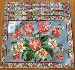 April Cornell Placemats 100% Cotton Steel Blue Tulip Floral India Set of 4 NWT