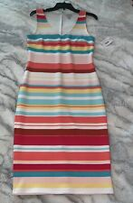 Belle & Sky Scuba Colorful Striped Dress Sz: S