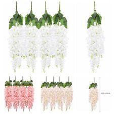 4pcs Artificial Hanging Wisteria Vine Fake Flower Bush String Chlorophytum Decor