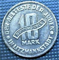 WW2 NAZI GERMANY ERA JUDE JEWISH 10 MARK EXONUMIA COIN GETTO 1943 LITZMANNSTA