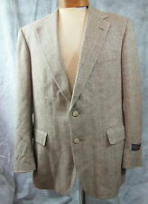 Ralph Lauren POLO UNIVERSITY CLUB Beige Windowpane Herringbone Sport Coat 46 Reg