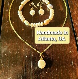 One-of-a-kind Handmade Original Fine Jewelry Set 14k Gold and Pearls