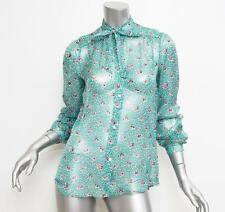 PAUL & JOE Womens Turquoise Floral Print Chiffon Long Sleeve Blouse 3 NEW $415