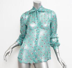 PAUL & JOE Womens Turquoise Floral Print Chiffon Long Sleeve Blouse 3 NEW $415