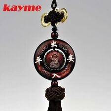 Kayme sandal wood car interior hanging ornament amulet for safe auto pendant