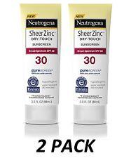 2 PACK- Neutrogena Sheer Zinc Dry-Touch SPF 30 Sunscreen, 3 Fl Oz, EXP 2019 (x2)