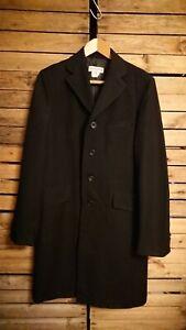 Vintage Men's Dries Van Noten Long Black Wool Over Coat. Size 46