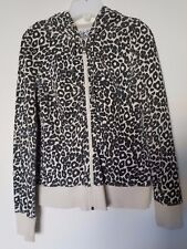 5f3a15d31e29 Guess Black & Tan Leopard Print Hooded Zip Up Sweater with Pockets Size  Small