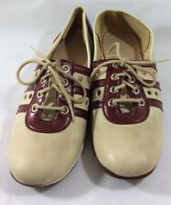Vintage Gaymade Shoes Women's 7 Bowling Style JCPenny Tan Maroon Lace Up